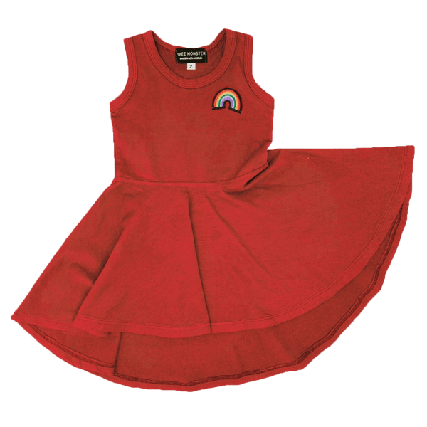 Wee monster orange sleeveless girls twirl dress