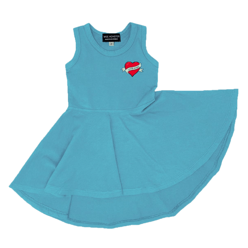 Wee monster blue sleeveless girls twirl dress