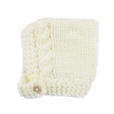 Blueberry hill cream knit baby bonnet