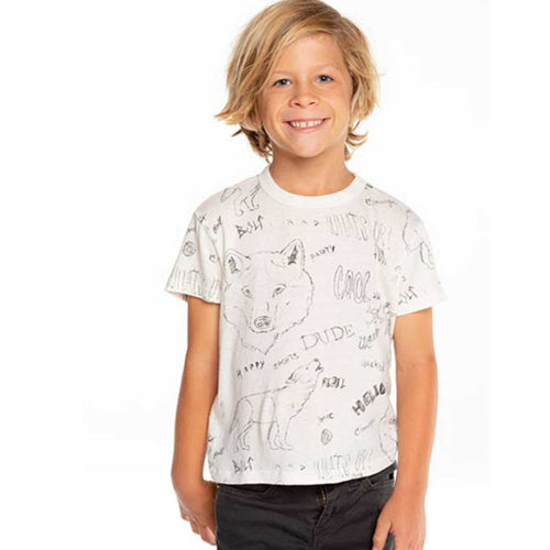 Chaser Wolf Doodles Gauzy Cotton Boys Tee