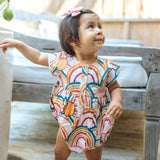 Pink chicken pink rainbow bubble romper for baby girl