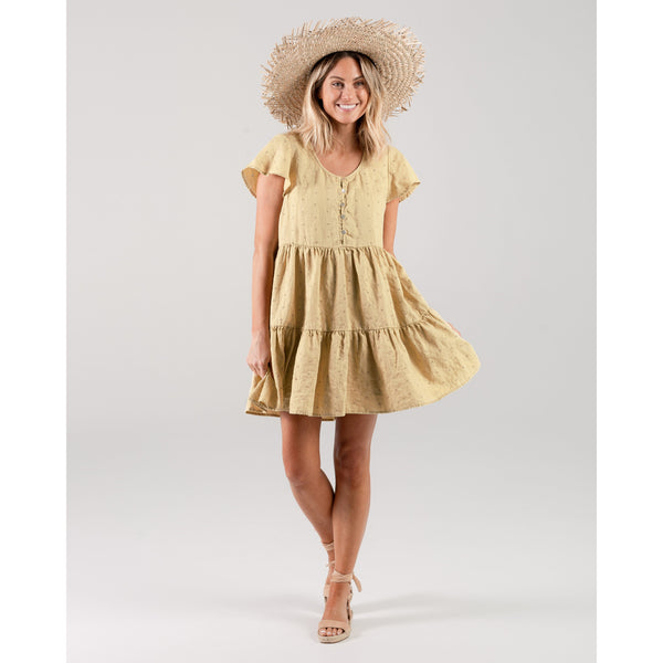 Rylee and cru yellow eyelet womens dress