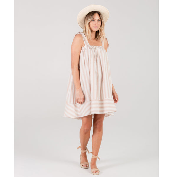 rylee and cru pink and white stripe womens sleeveless dress