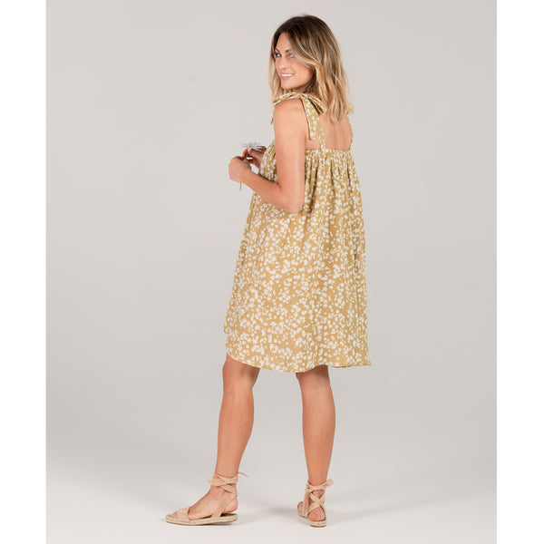 Rylee and cru yellow flower print womens dress