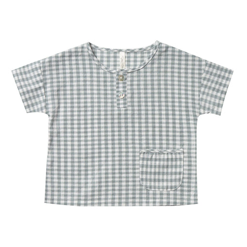 Rylee and cru blue gingham henley toddler and boys short sleeve shirt