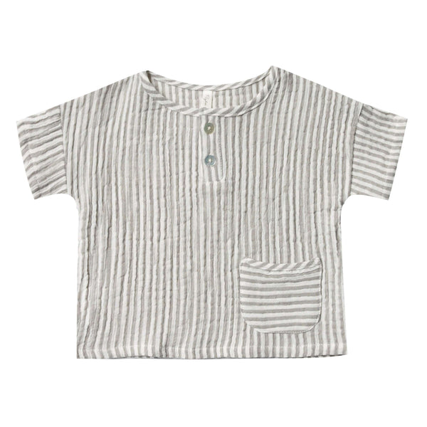 Rylee and cru green stripe boys henley shirt