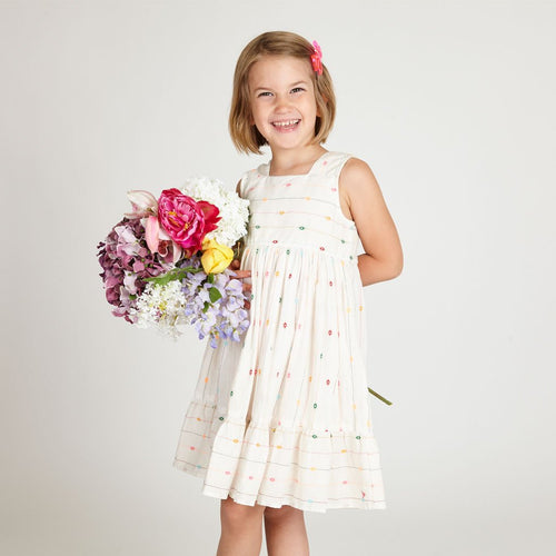 Girls white dress with colorful dots and full skirt