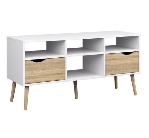 Mesa Para Tv Hocker Blanco Y Nogal