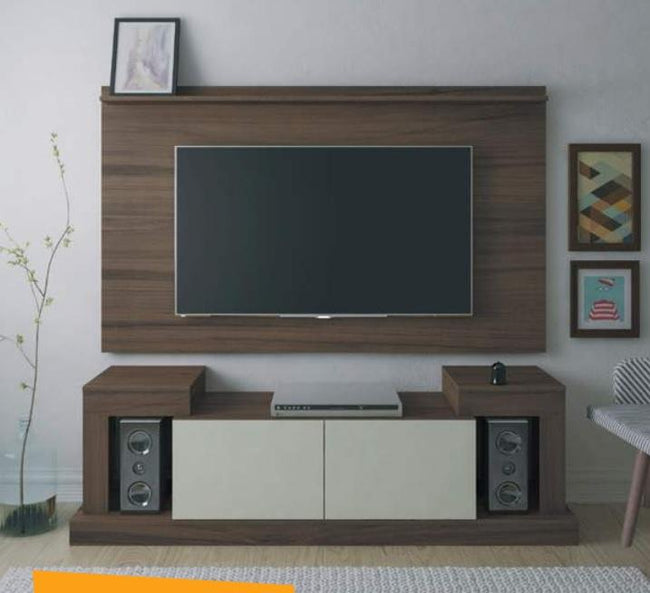 Mesa de TV Time - Imbuia y Off White