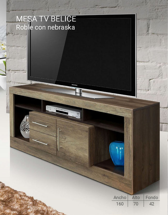 Mesa de TV Belice - Roble con Nebraska