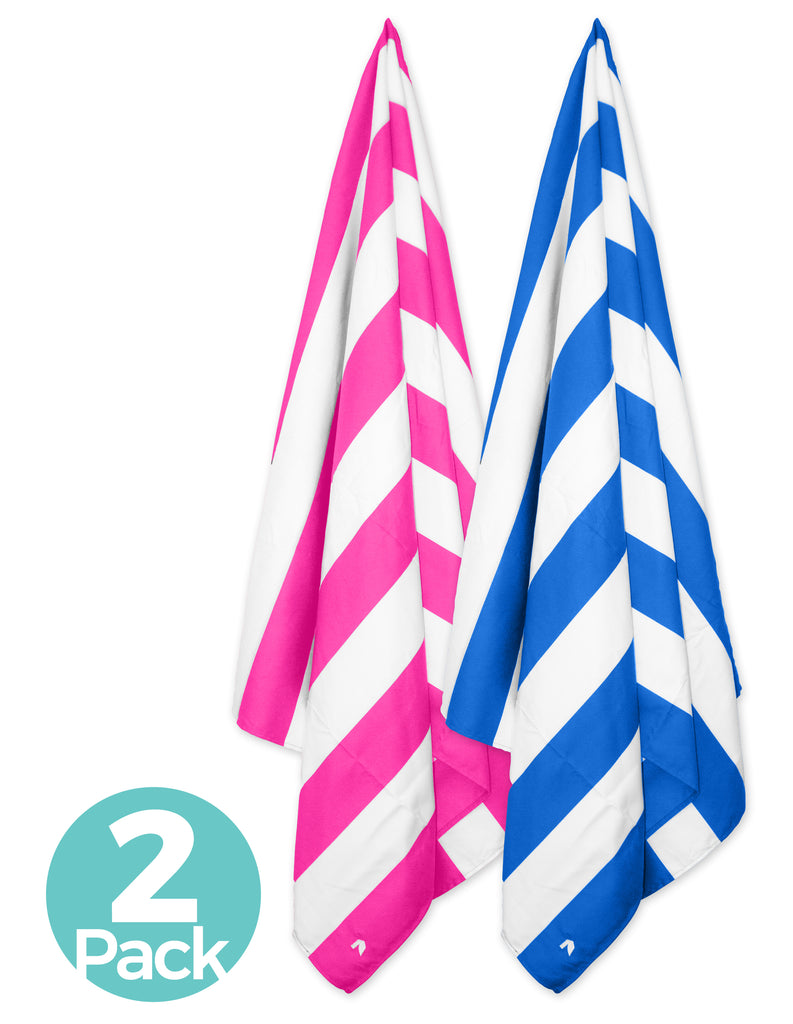 Cabana Beach Towels Stripe Collection - 2 Pack Caribbean Blue & Bahamian Pink