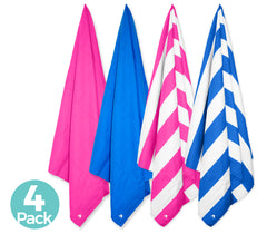 Cabana Beach Towels Stripe and Classic Collection - 4 Pack - 1 Stripe Bahamian Pink 1 Stripe Caribbean Blue 1 Solid Bahamian Pink & 1 Solid Caribbean Blue