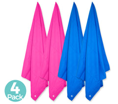 Cabana Beach Towels Classic Collection - 4 Pack - 2 Solid Caribbean Blue & 2 Solid Bahamian Pink