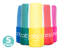 Cabana Beach Towels Stripe Collection - 5 Pack Stripe Bahamian Pink, Caribbean Blue, Sea Turtle Green, Sunset Yellow & Calypso Coral Red