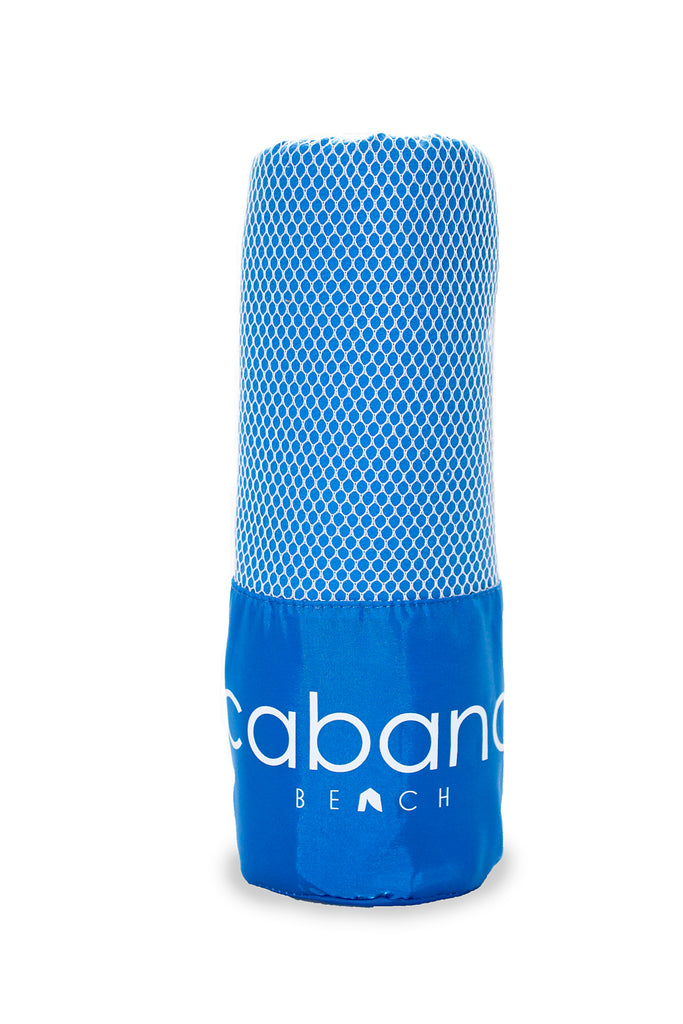 Cabana Beach Towels Classic Collection - 2 Pack Solid Caribbean Blue & Bahamian Pink