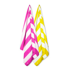 Cabana Beach Towels Stripe Collection - 2 Pack Sunset Yellow & Bahamian Pink