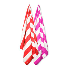 Cabana Beach Towels Stripe Collection - 2 Pack Calypso Coral Red & Bahamian Pink