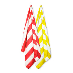 Cabana Beach Towels Stripe Collection - 2 Pack Sunset Yellow & Calypso Coral Red