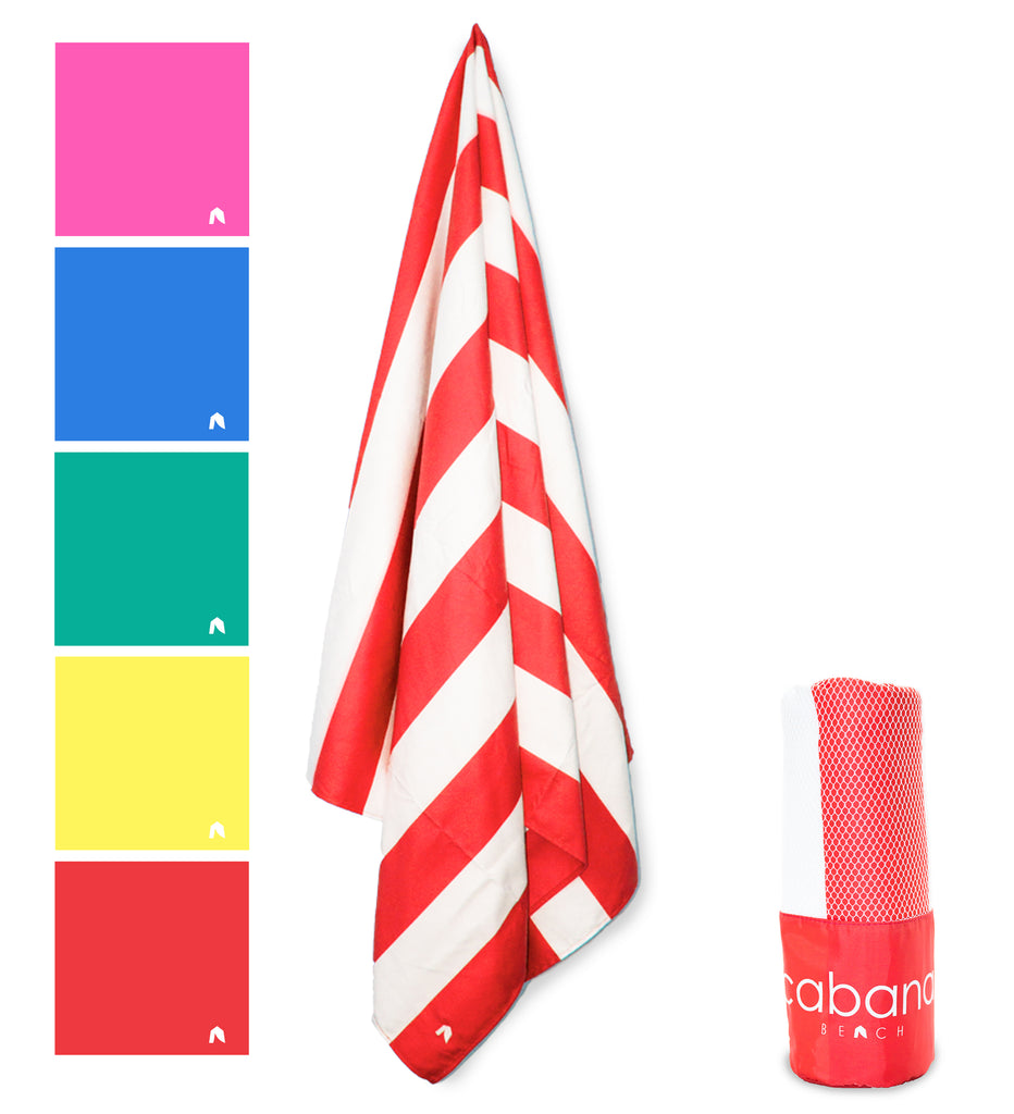 Cabana Beach Towels Stripe Collection - Calypso Coral Red