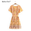 Boho Chic  floral print short sleeve lace-up v-neck dress - BOHOCHIC