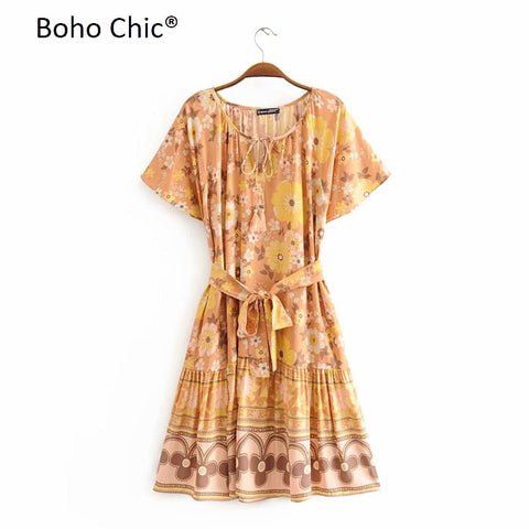 Boho Chic Sleeveless floral print dress Elastic waist mini dress