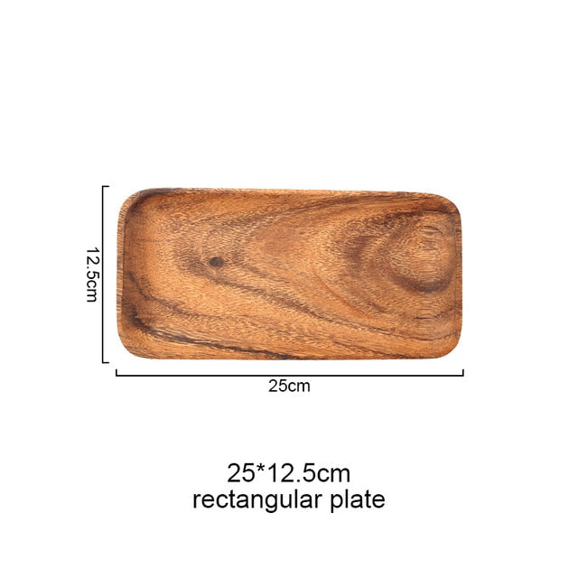 Boho Chic Wooden Tray Dinner Plate Acacia - BOHOCHIC