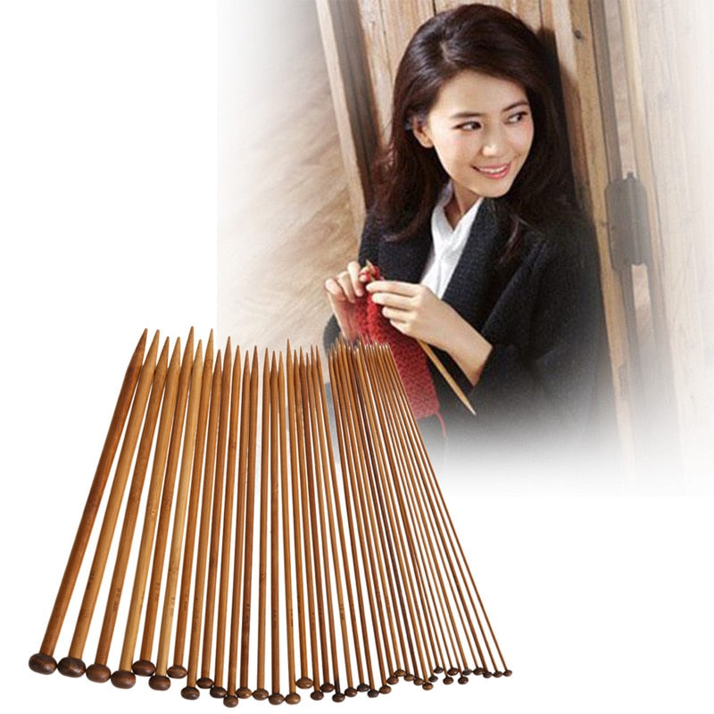Boho Chic set off 2 carbonized bamboo single pointed needles in 18 different sizes. - BOHOCHIC
