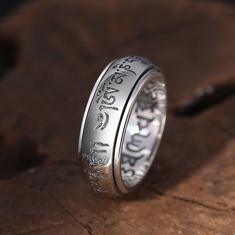 Boho Chic Buddha Ring 100% Real 925 Silver Jewelry Heart Sutra Mantra Ring - BOHOCHIC