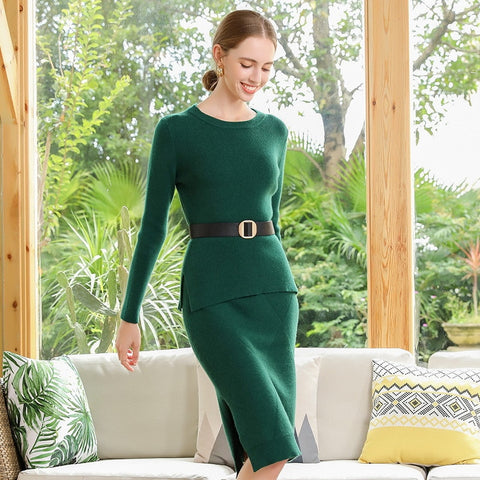 Boho Chic Cashmere Dress O-neck Slim Long Dress Full Sleeve