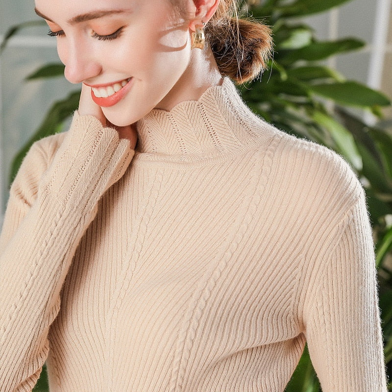 Boho Chic 100% cashmere Half Turtleneck Pullover Sweater Wave Collar   Ribbed - BOHOCHIC