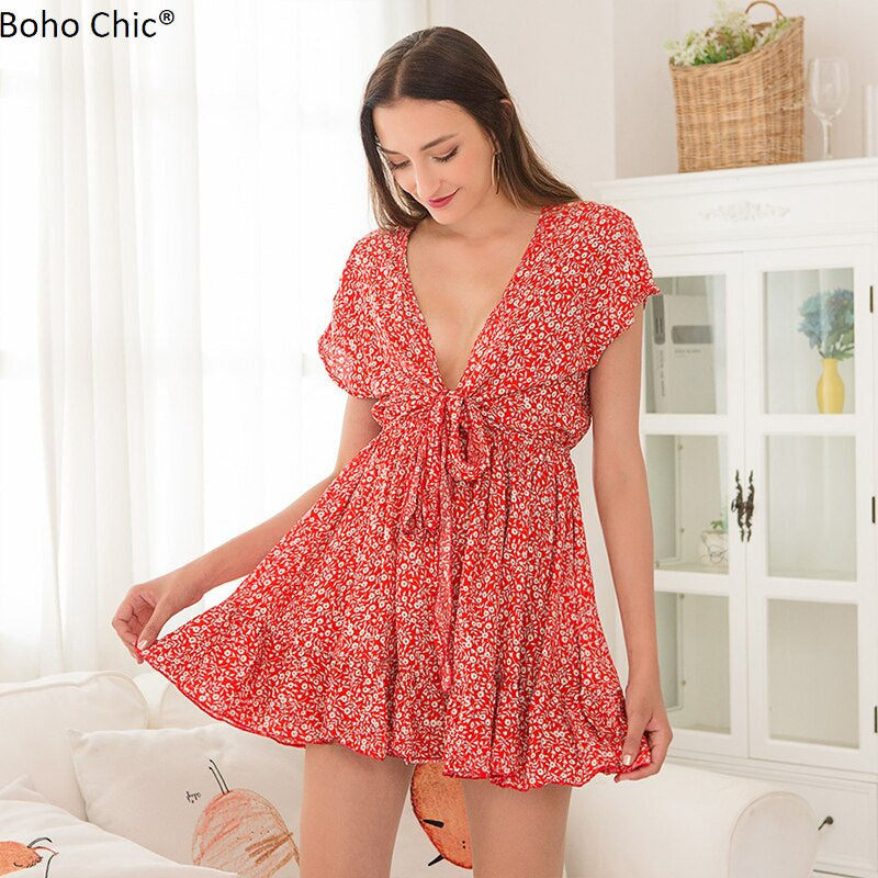 Boho Chic Deep V Neck Sexy Dress Summery Floral Print - BOHOCHIC