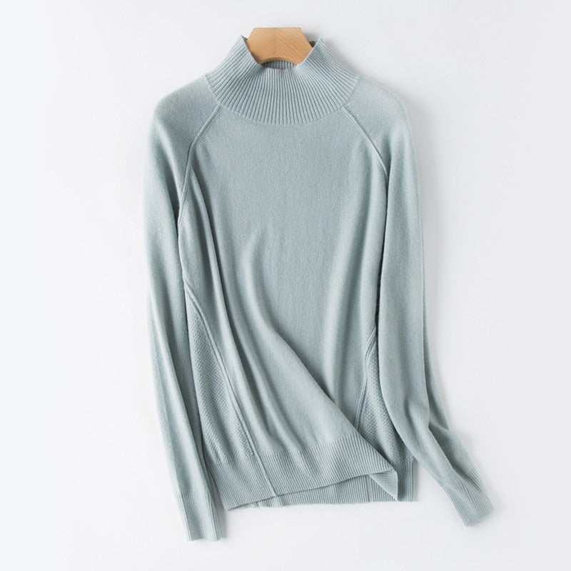 Boho Chic 100% cashmere Half Turtleneck Loose Pullover Sweater - BOHOCHIC