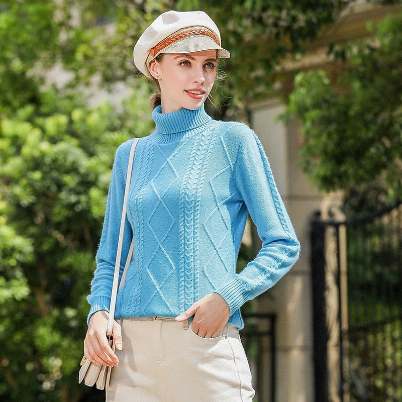 Boho Chic 100% cashmere Turtleneck Sweaters Thick English Style - BOHOCHIC