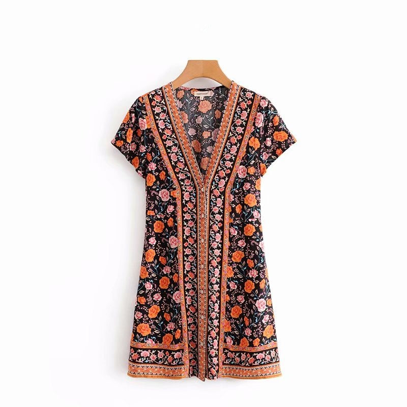 Boho Chic Floral Printed Deep V-neck Bohemian Mini Dress Short Sleeves Dress - BOHOCHIC