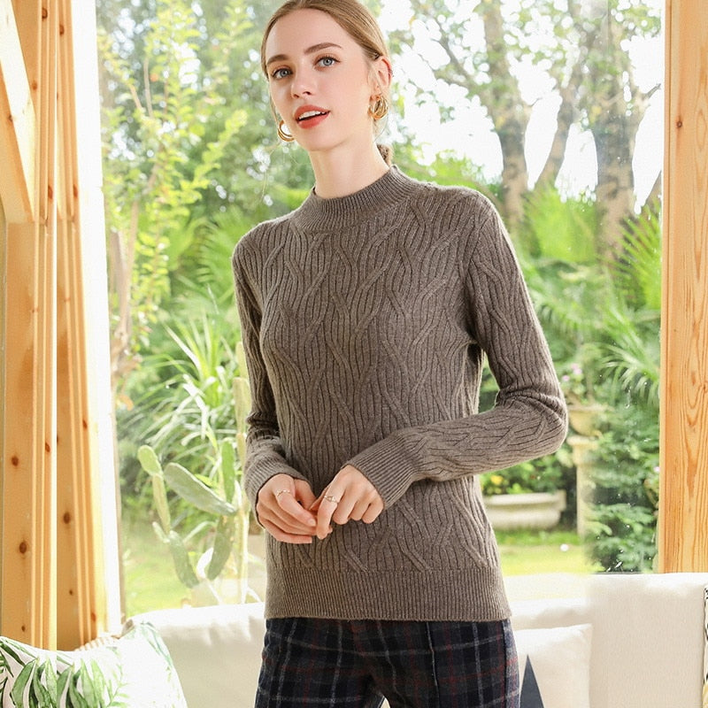 Boho Chic 100% cashmere Half Turtleneck Sweaters  Thick Pullover - BOHOCHIC