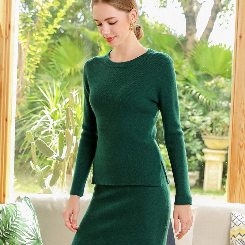 Boho Chic 100% cashmere 2 Pieces Sets 100  Women O-neck Pullover and Skirt Sets - BOHOCHIC