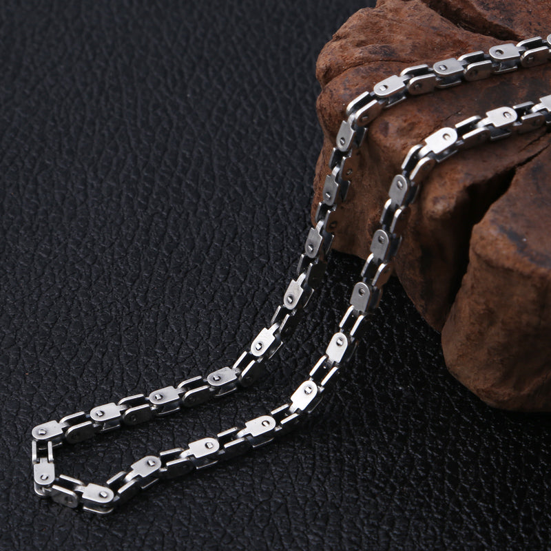 Boho Chic 4mm Thick Necklace 100% 925 Sterling Silver  bamboo chain Square - BOHOCHIC