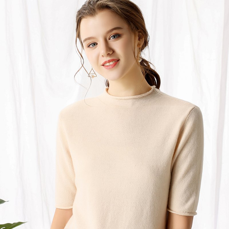 Boho Chic 100% cashmere Rolled O-neck Sweater Short Sleeve Pullover - BOHOCHIC