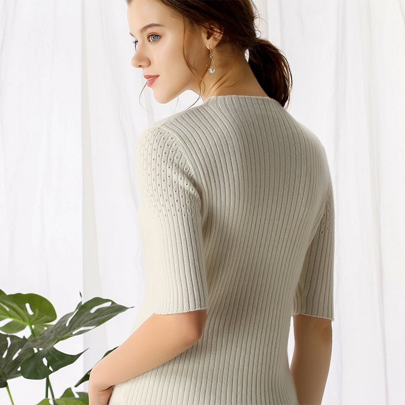 Boho Chic 100% cashmere Round Neck Short Sleeve Knitted Allover Ribs Pullover - BOHOCHIC