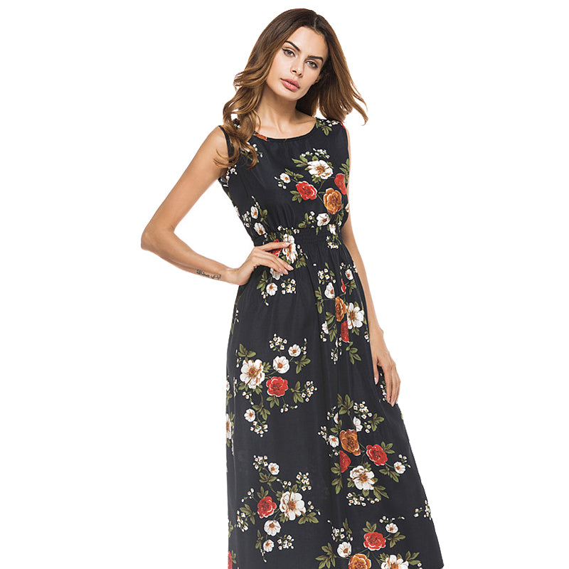 Boho Chic Long Sexy Printed Floral Sleeveless Dress - BOHOCHIC