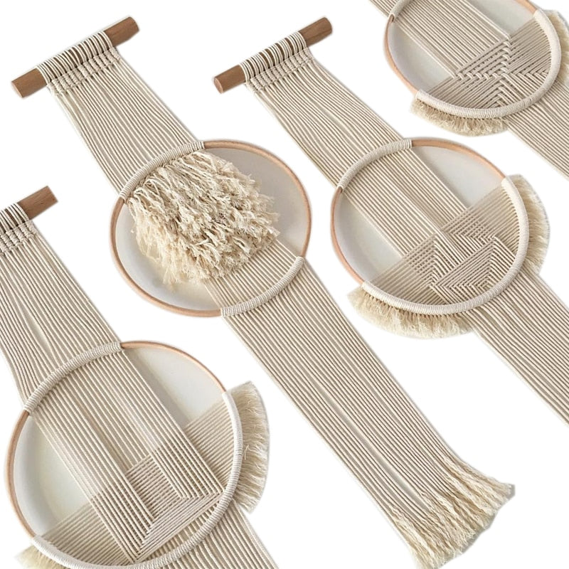 Boho Chic Macrame Wall Hanging Cotton Woven Round Tapestry - BOHOCHIC
