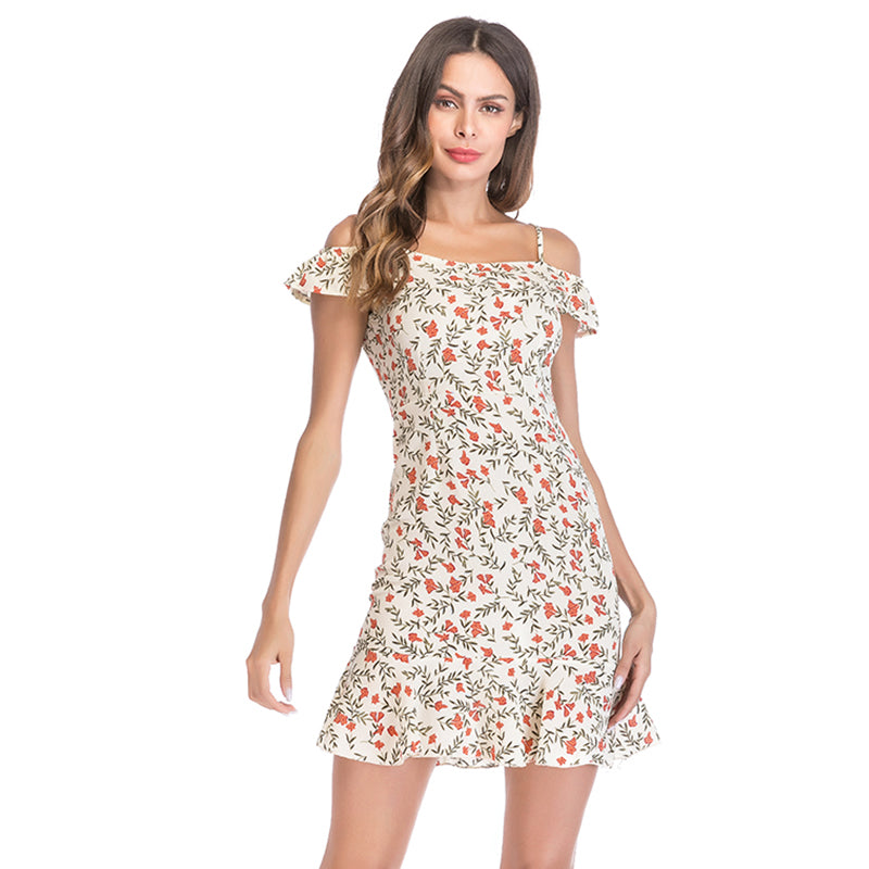 Boho Chic  Printed Lotus Leaf Sleeve Sexy Backless Dress - BOHOCHIC