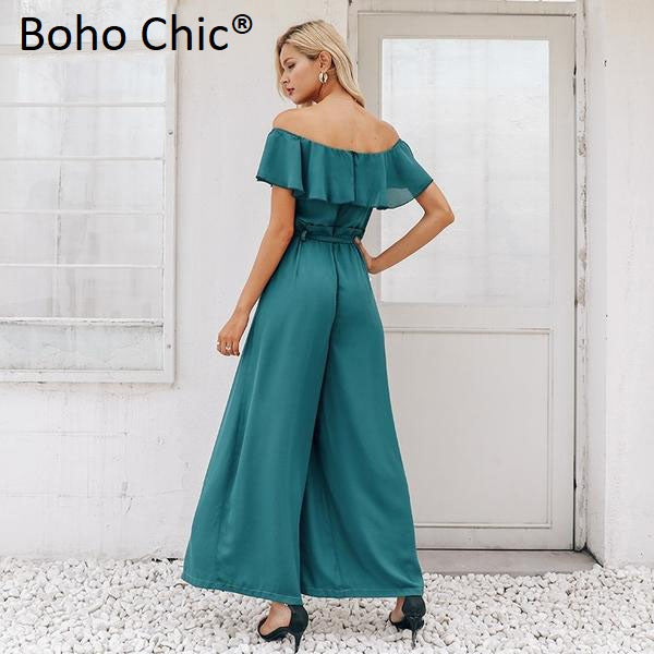 Boho Chic Elegant off shoulder women long jumpsuit - BOHOCHIC