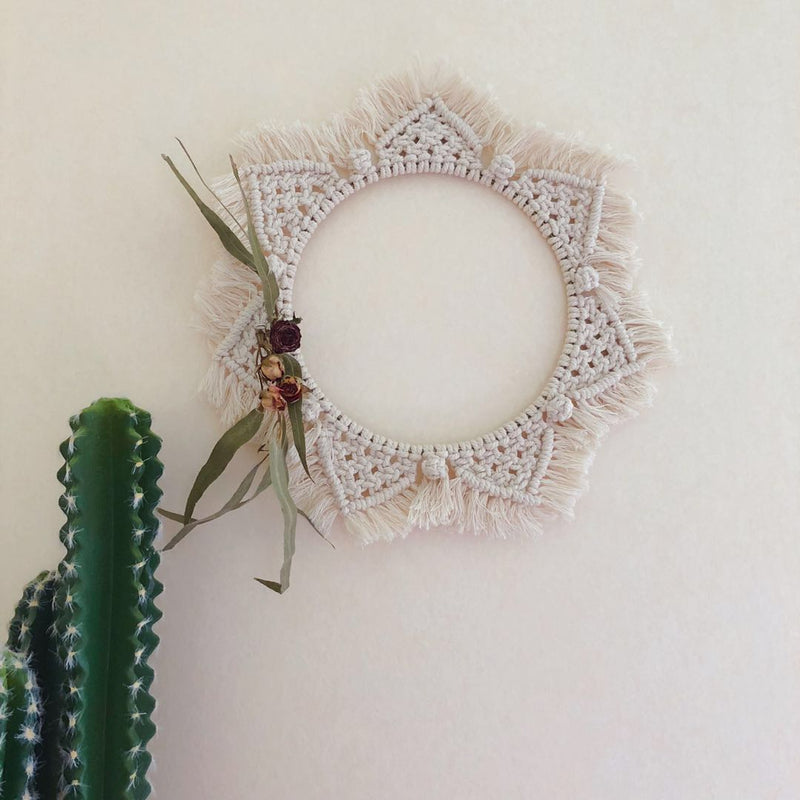 Boho Chic Macrame Wall Hanging Wall Decoration Handmade Woven Tapestry Round - BOHOCHIC