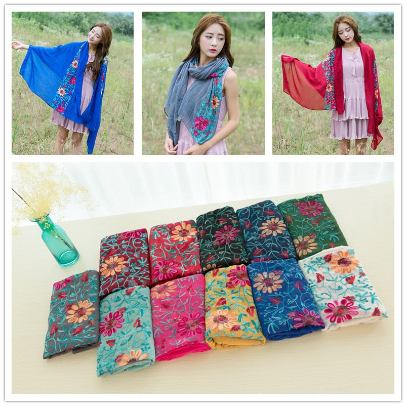 Boho Chic Embroidered Floral Scarf Shawl