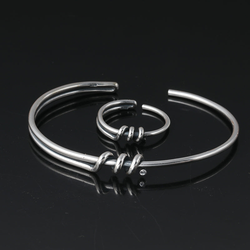Boho Chic Bracelet Bangle and Ring Set 100% 925 sterling silver - BOHOCHIC