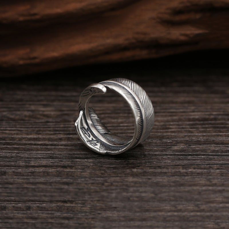 Boho Chic ring opening eagle feathers 100% 925 sterling silver - BOHOCHIC
