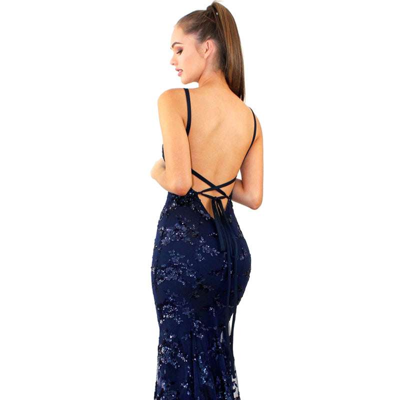 Boho Chic Backless Strapless Sequined Dress - BOHOCHIC