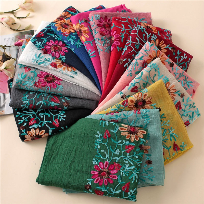 Boho Chic Embroidered Floral Scarf Shawl Buy 5 Get 1 Free - BOHOCHIC