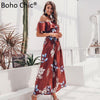 Boho Chic high waist long dress shirred floral summer dress